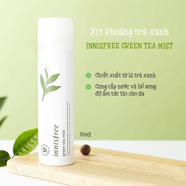Xịt Khoáng Dịu Mát Da, Cân Bằng Độ Ẩm, Kháng Khuẩn Chiết Xuất Trà Xanh - Innisfree Green Tea Mist 50ml
