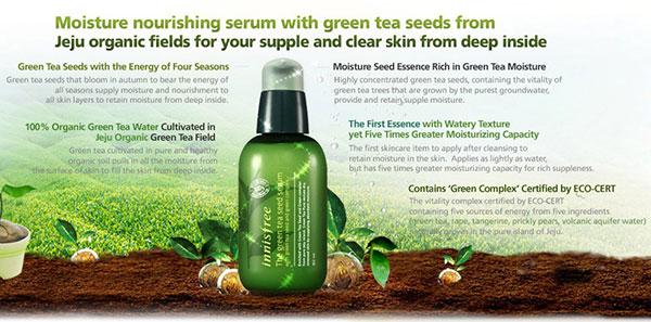 Tinh Chất Dưỡng Ẩm, Tái Tạo Da Chiết Xuất Mầm Trà Xanh Innisfree  (phù hợp da mụn, da hỗn hợp, da dầu) - Innisfree The Green Tea Seed Serum 80ml