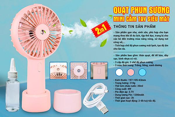 Quạt Mini Cầm Tay Phun Sương Humidifier Fan