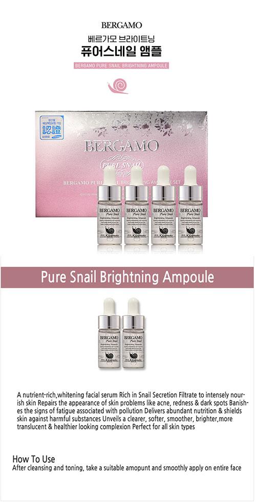 Serum Bergamo Pure Snail Brightening Ampoule Set 4Pcs