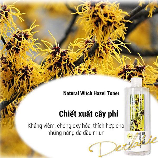 Nước Hoa Hồng Cây Phỉ Derladie Natural Witch Hazel Toner 500ml