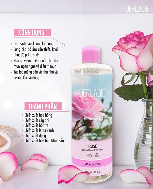 Nước Hoa Hồng Derladie Rose Natural Moisture Toner