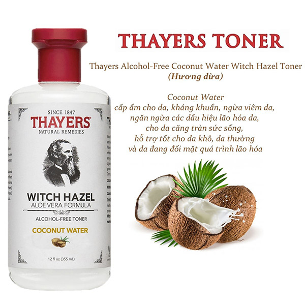 Nước Hoa Hồng Thayers Witch Hazel Coconut Water
