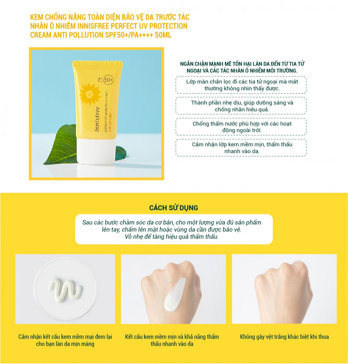 Kem Chống Nắng Innisfree Perfect UV Protaction Cream Anti Pollution SPF50+ PA++++