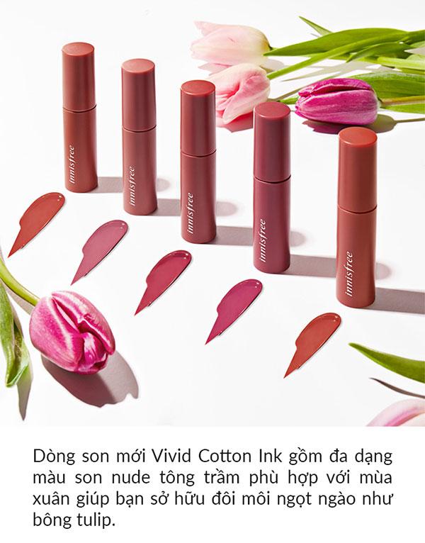 Son Kem Innisfree Vivid Cotton Ink Siêu Lì, Mềm Mịn