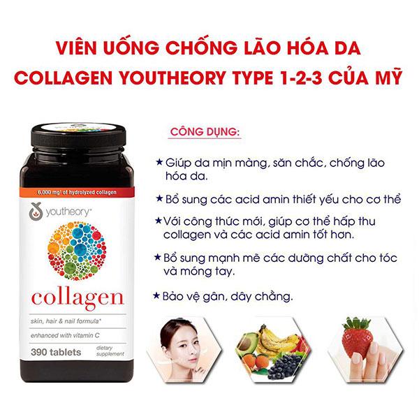 Viên Uống Collagen Youtheory™ Type 1 2 & 3 Chống Lão Hóa Da